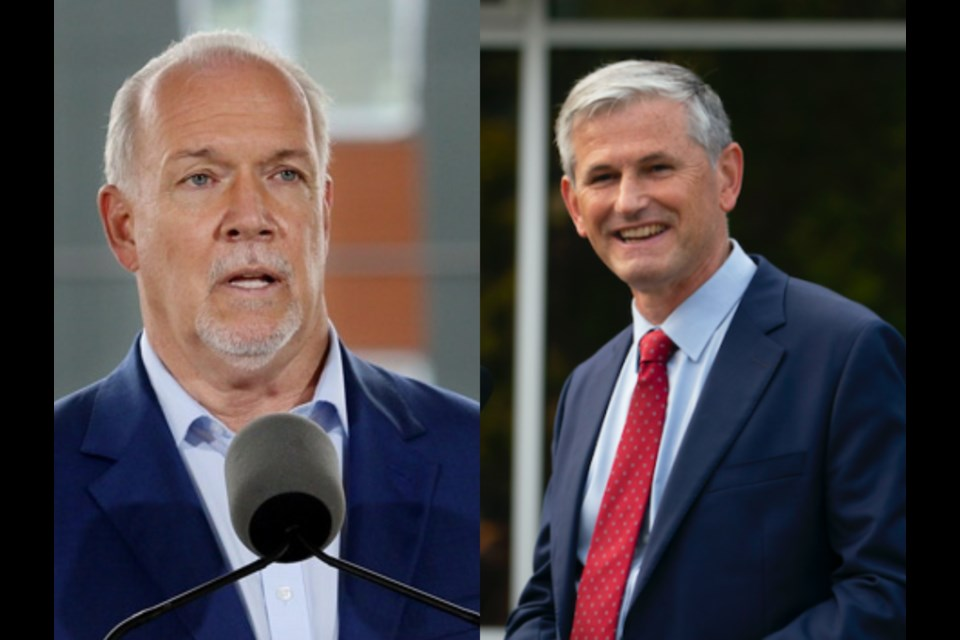 BC NDP leader John Horgan (left) and BC Liberal leader Andrew Wilkinson (right) on recent visits to the Tri-Cities