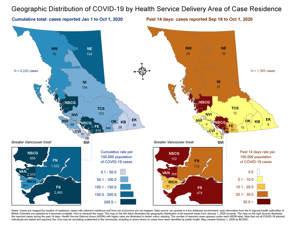 COVID-19 cases reported by health service delivery area from Sept. 18 to Oct. 1. Fraser North, which