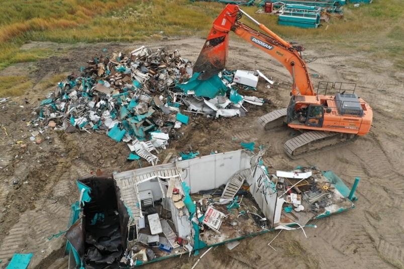 Drilling rigs smashed to scrap in Carnduff, SK. | Brian Zinchuk,