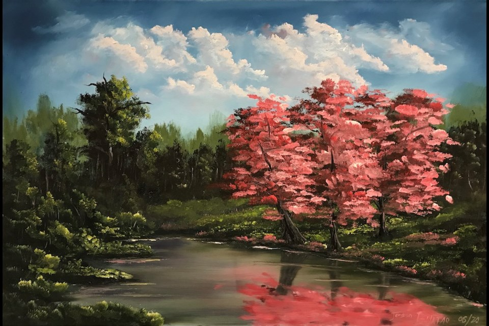 'Pink Blossom', oil on canvas, by Jerson Bulatao