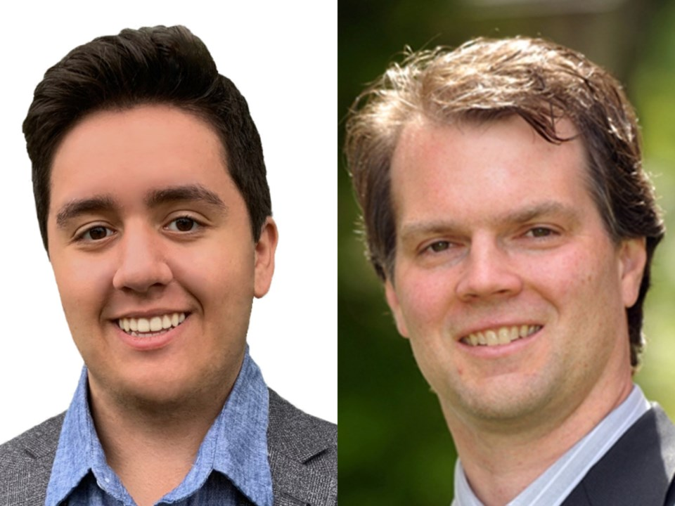 BC Green candidate Adam Bremner-Akins (left) and BC NDP candidate Fin Donnelly (right) are the only