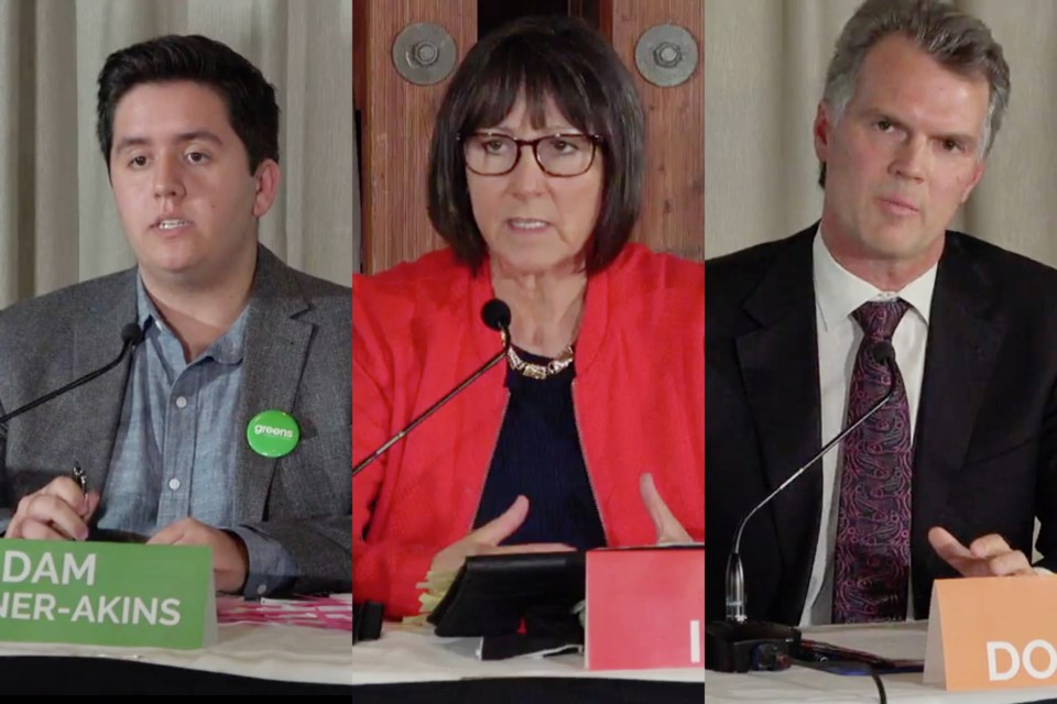 BC Green candidate Adam Bremner-Akins (left); BC Liberal candidate Joan Isaacs (centre); and BC NDP candidate Fin Donnelly at the Tri-Cities Chamber of Commerce All-Candidates Debate Wednesday, Oct. 14.