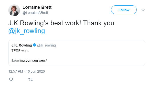 New Westminster BC Liberal candidate Lorraine Brett's June 10 has now been deleted.