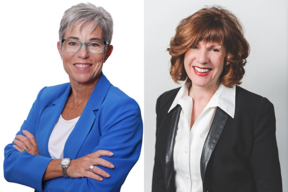 Coquitlam-Maillardville BC NDP candidate Selina Robinson (left) is calling for the firing of BC Liberal candidate for New Westminster Lorraine Brett after a tweet Robinson has characterized as anti-LGBTQ