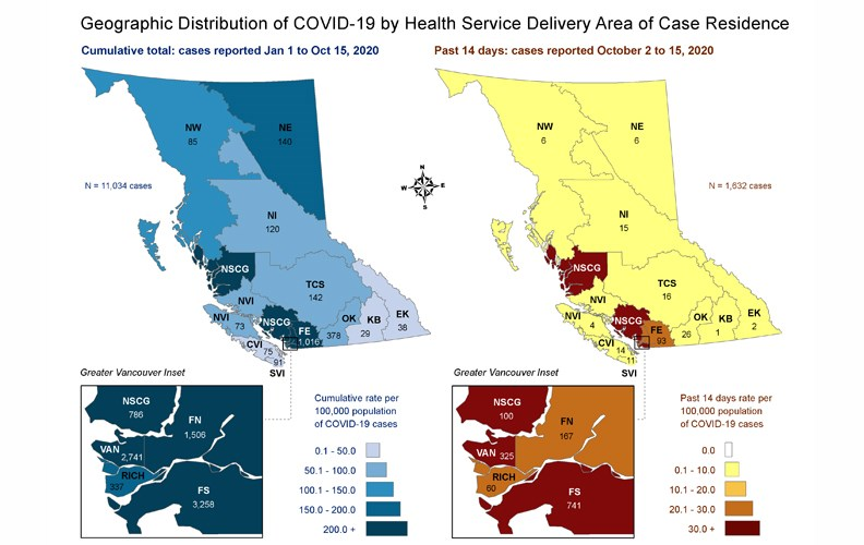This map, created by the B.C. Centre for Disease Control, shows a breakdown of COVID-19 cases by health service delivery area. The blue map on the left shows the total cases up to Thursday. The red and yellow map on the right shows the number of cases between Oct. 2 and Oct. 15. The Northern Interior (NI) health service delivery area, which includes Prince George, had 15 cases over the last two weeks and 120 overall.
