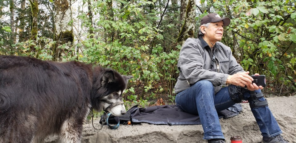 Lorne Cardinal and Jake in Squamish on Friday afternoon.