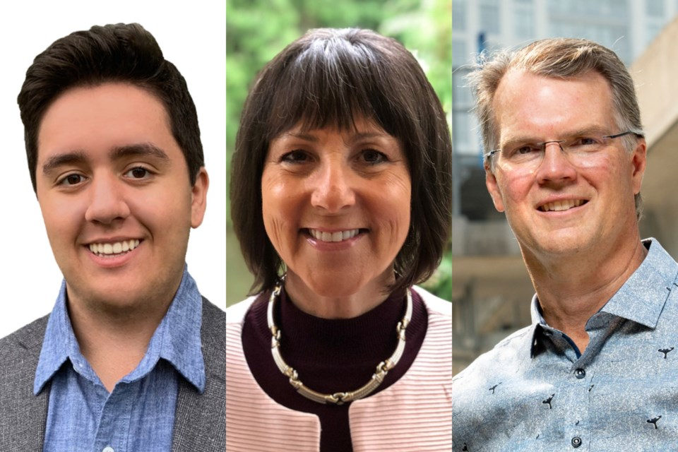 Candidates for Coquitlam-Burke Mountain: BC Green Adam Bremner-Akins (left); BC Liberal Joan Isaacs (centre); BC NDP Fin Donnelly (right)