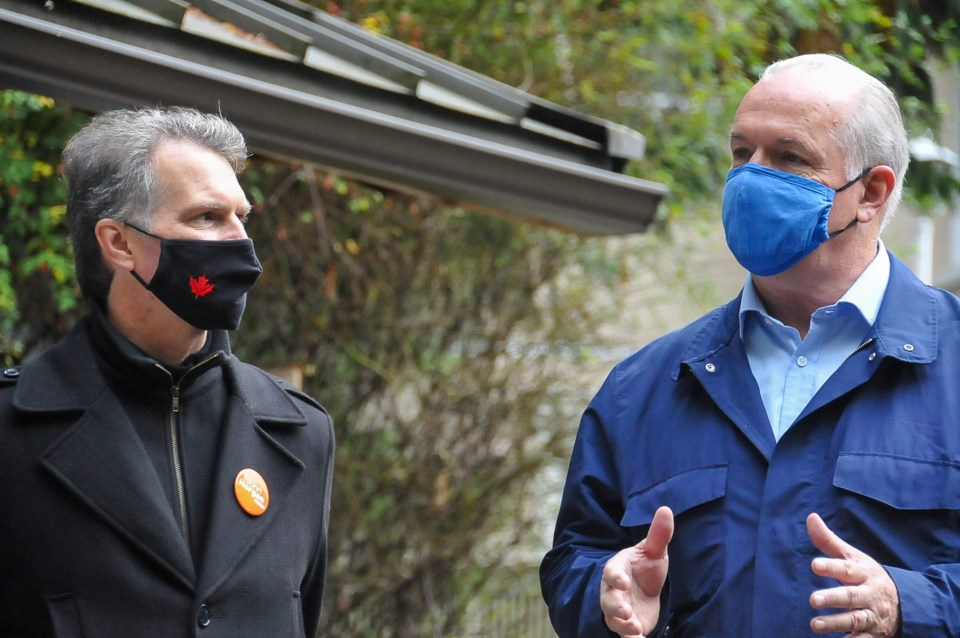 BC NDP Leader John Horgan and Coquitlam-Burke Mountain candidate Fin Donnelly at the Hoy Creek Hatch