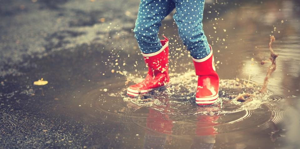 rain, boots, child in rain, stock photo