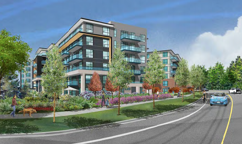 An artist's rendering of a 302-unit affordable rental housing complex