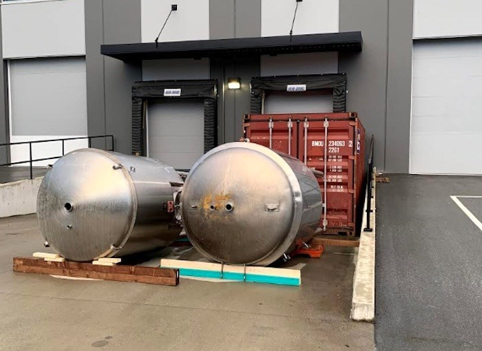 hese two tanks were stolen from outside Boardwalk Brewing's under-construction facilities in Port Co