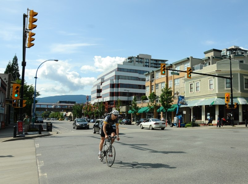The City of North Vanocuver's Complete Street project for Esplanade will be flawed as long as the busy thoroughfare remains a truck route, writes columnist Heather Drugge. photo Cindy Goodman, North Shore News
