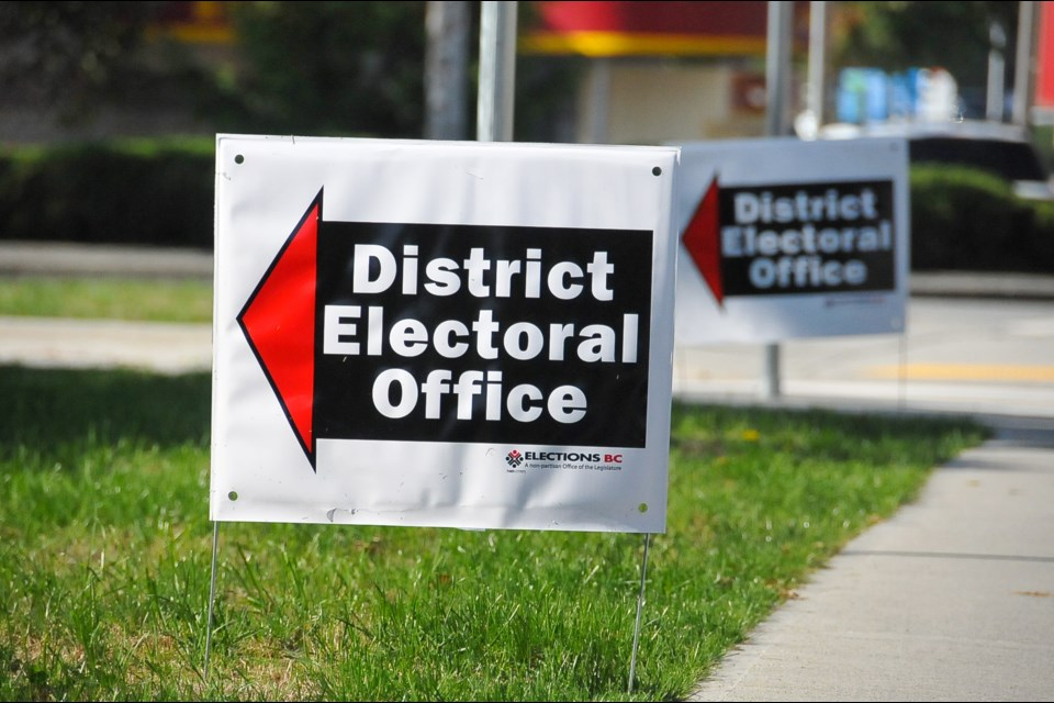 Sign outside the Coquitlam-Burke Mountain district electoral office