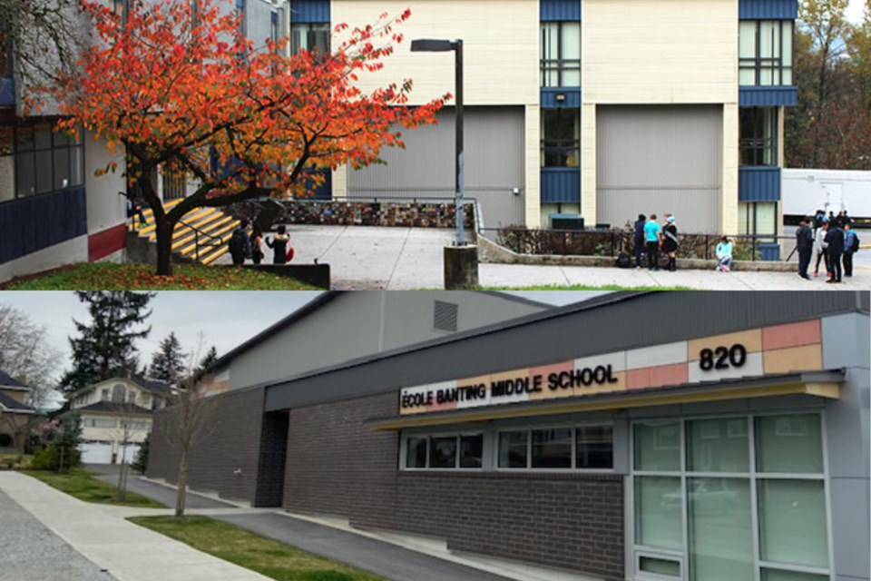 Port Moody secondary (top) and Banting middle school (bottom) are the two latest SD43 schools to rep
