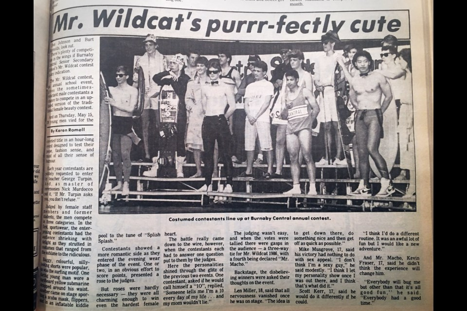 Contestants in Burnaby Central Secondary's Mr. Wildcat competition strike a pose in a 1986 NOW photo.