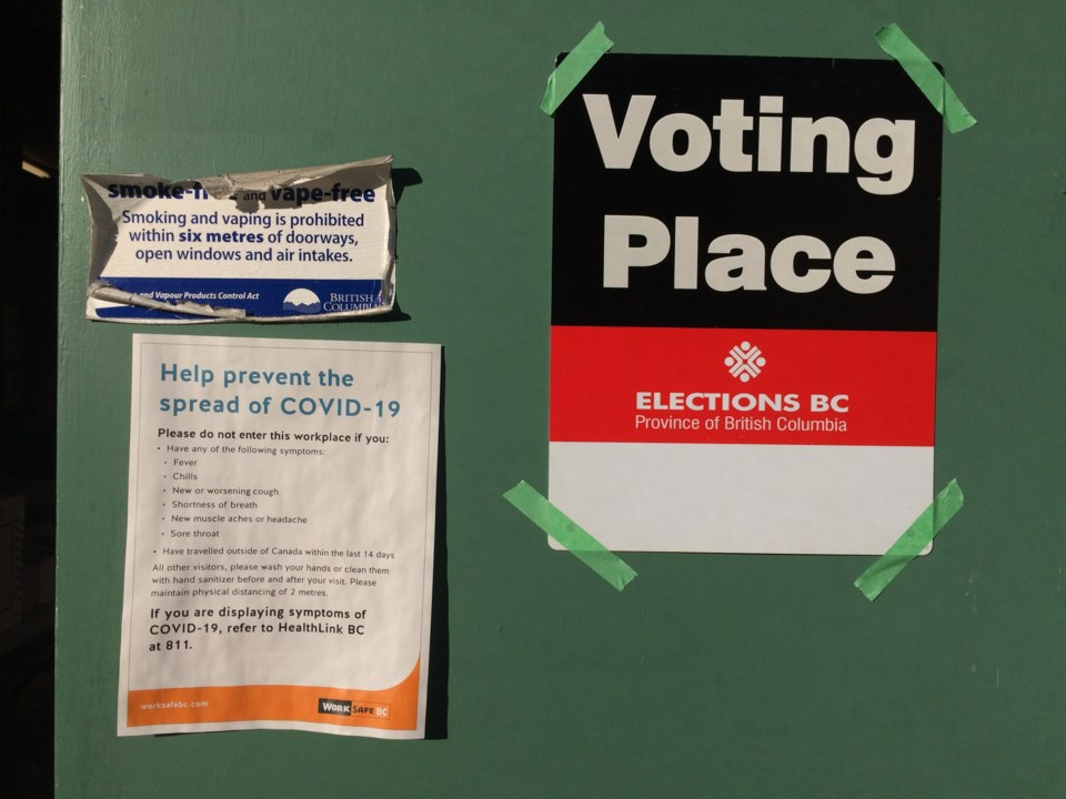 COVID-19, Elections B.C., voting place