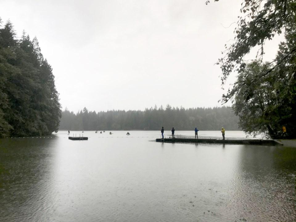 Visitors at Alice Lake during the rain this past week.