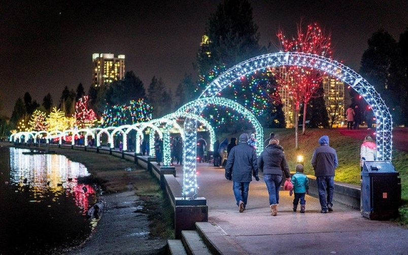 Town Centre Park Coquitlam Lights at Lafarge Christmas Holidays display