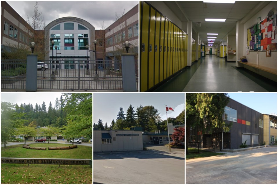 New exposures at Pinetree seondary (top left); Maillard middle (top right); Coquitlam River elementa