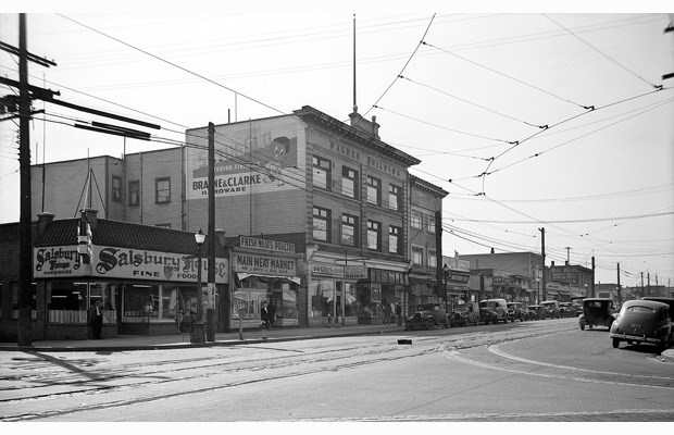 The Walden Building then: In the 4100-block of Main Street looking southeast. 1946.
