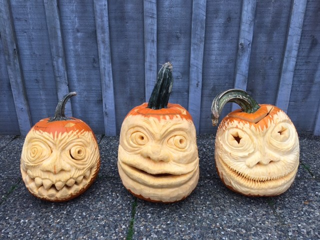Pumpkins carved by local Steveston artist Alvin Jang. Photo submitted by Cecilia Jang