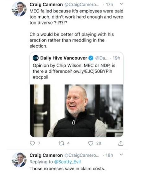 Craig Cameron - erection tweet
