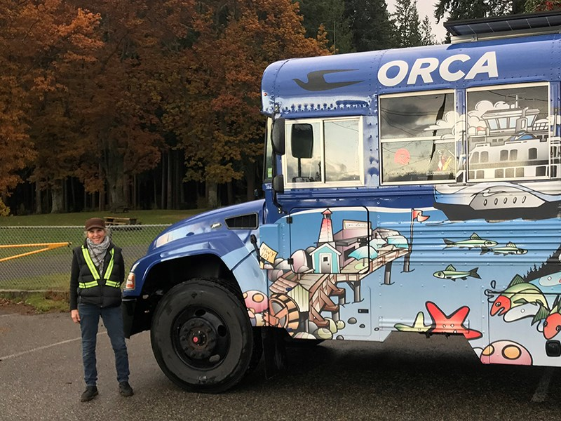 IMPORTANT SERVICE: Autumn Ennenburg delivered the ORCA Bus to Sunset Park in Wildwood on November 4. The ORCA Bus program is one of a number of services Powell River and District United Way delivers throughout the region. Shane Carlson photo