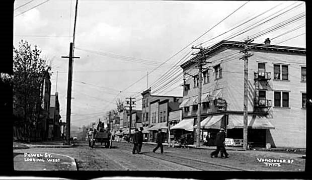 Powell Street then: Looking West on Powell Street from Dunlevy Avenue.