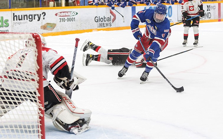 Prince George Spruce Kings defenceman Mason Waite snaps home a shorthanded goal against Merritt Centennials goaltender Josh Dias during a BCHL preseason games Nov. 14 at Rolling Mix Concrete Arena.