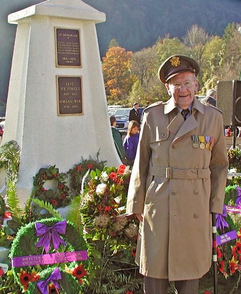 Edward Wachtman Sr. at the Bowen cenotaph.