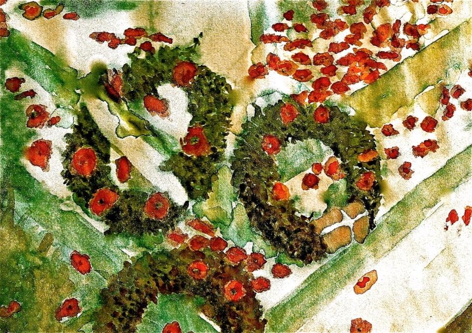Painting of poppies at the cenotaph