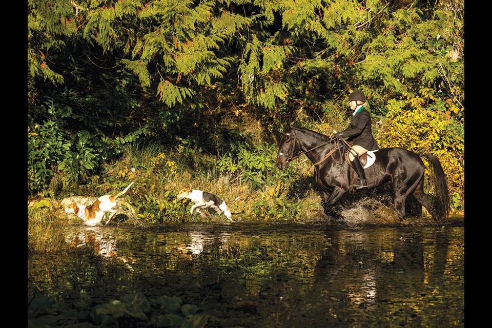 Huntsman Kelly Coughlin handles the hounds.