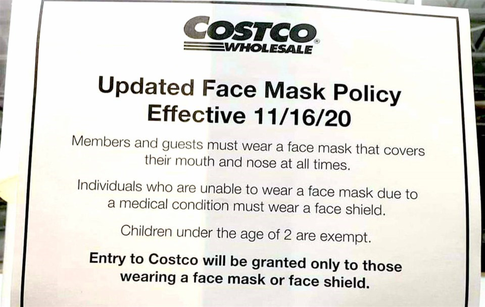 Starting Monday, Nov. 16 all Canadian Costco stores will require that shoppers either wear a face ma