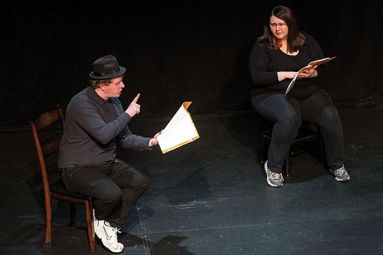 Citizen Photo by James Doyle/Local Journalism Initiative. James Mills, left, and Morgan Seager perform at Theatre Northwest on Saturday night during a stage reading of Alora Bowness' The Case of Cindy.