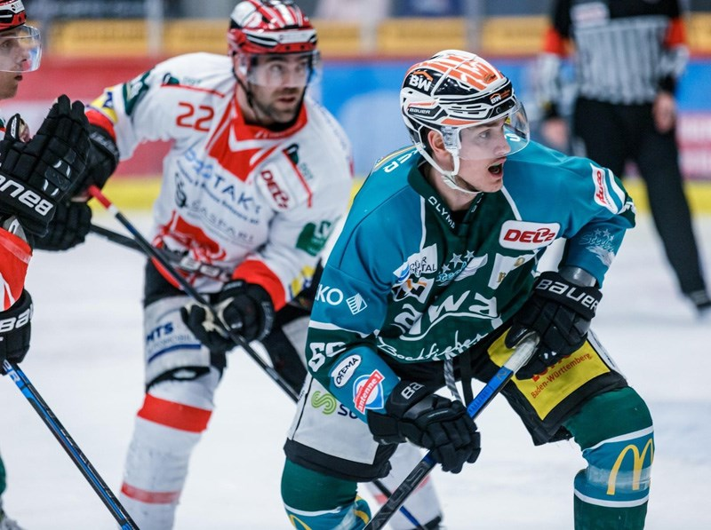 Coquitlam's Mark Ledlin in his day job, playing forward for the Beitigheim Steelers in Germany's second division.