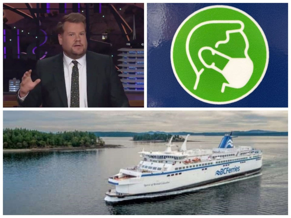 The Late Late Show host James Corden ran a segment on the BC Ferries mask signage that has sparked a