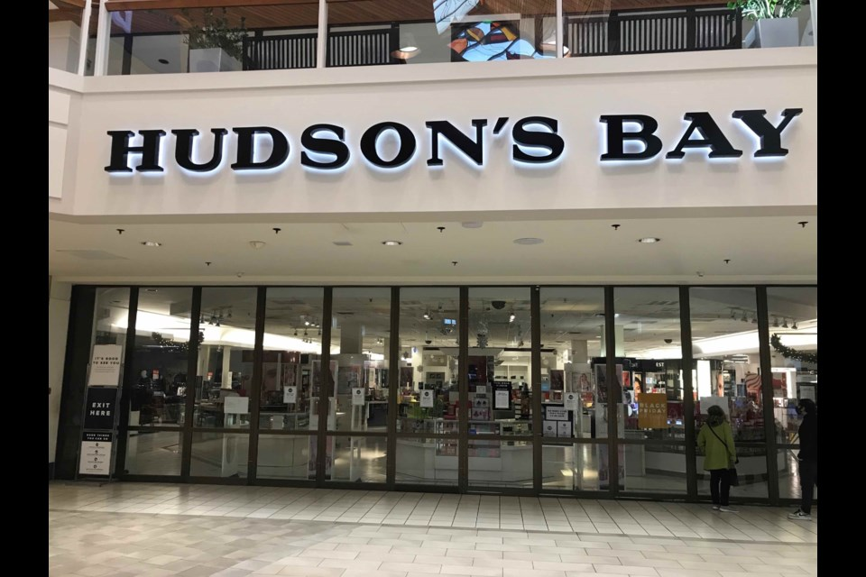 The Hudson's Bay Co. location at Coquitlam Centre was shut Saturday with a notice posted to its entrance indicating it had failed to pay rent.