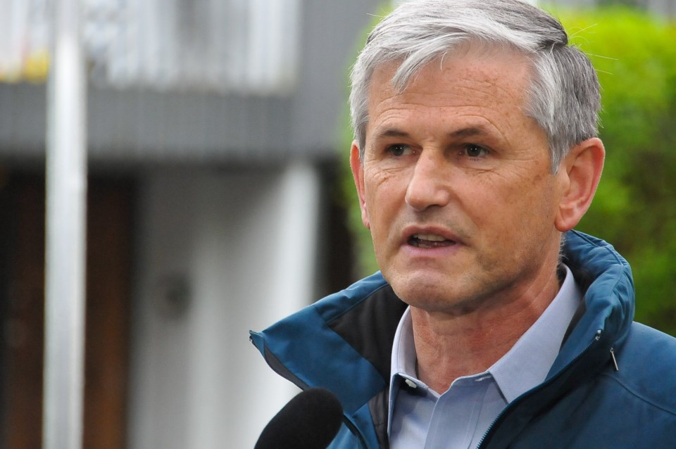 Andrew Wilkinson during a campaign stop in Port Moody, Oct. 16, 2020