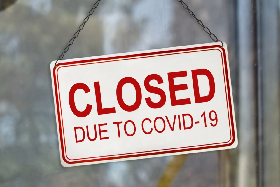 closed for COVID, stock image