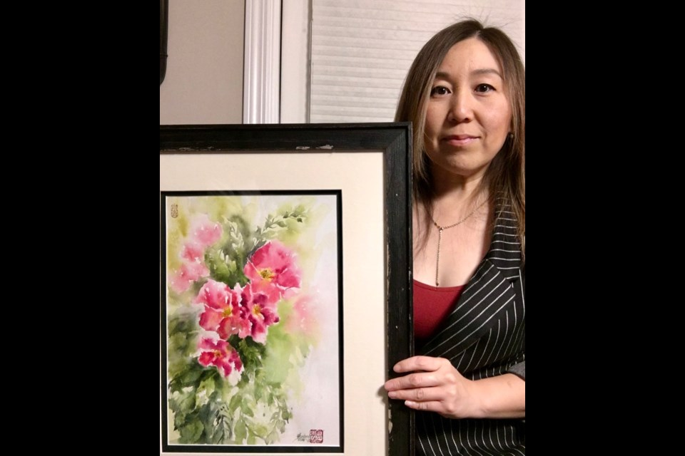 'A Charming Moment' by Goddfare watercolour artist Mimi Zhang-Mackie is one of dozens of juried art pieces that will be displayed in 'Uplift', the themed exhibit of the Peace River Chapter of the Federation of Canadian Artists opening Nov. 29 at the Beaverlodge Art and Culture Centre. Supplied