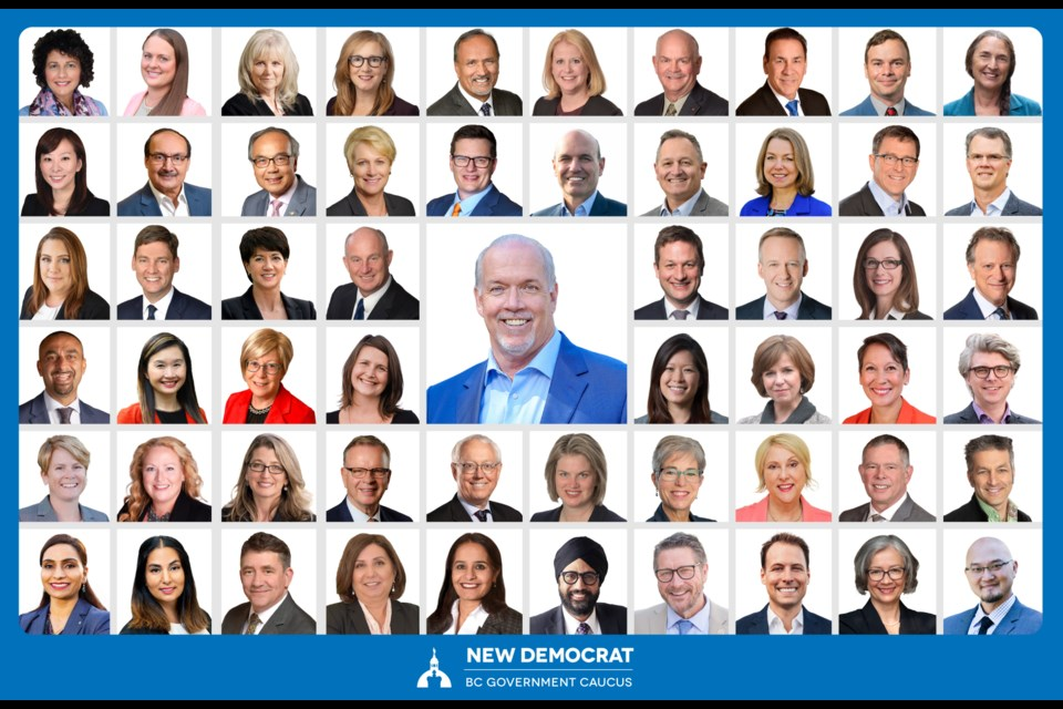 The new BC NDP caucus with Premier John Horgan includes Tri-City MLAs Mike Farnworth, Fin Donnelly, Selina Robinson and Rick Glumac.