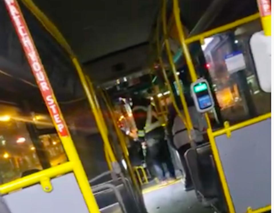 bus driver yells at unmasked customer