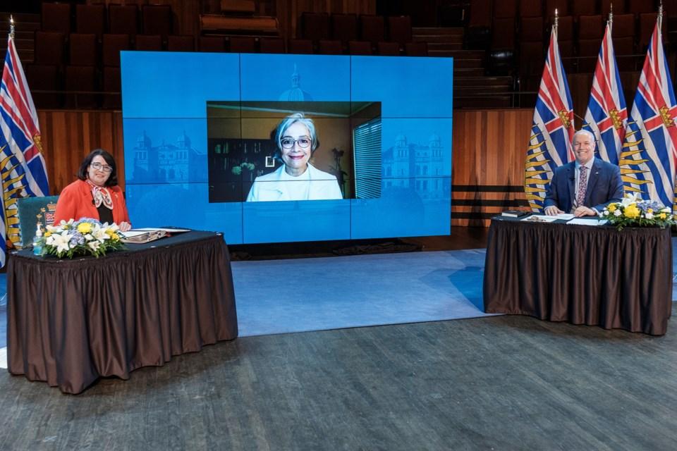 New Westminster MLA Jennifer Whiteside is sworn in virtually as the new minister of education during Thursday's ceremonies overseen by Lt.-Gov. Janet Austin and Premier John Horgan.