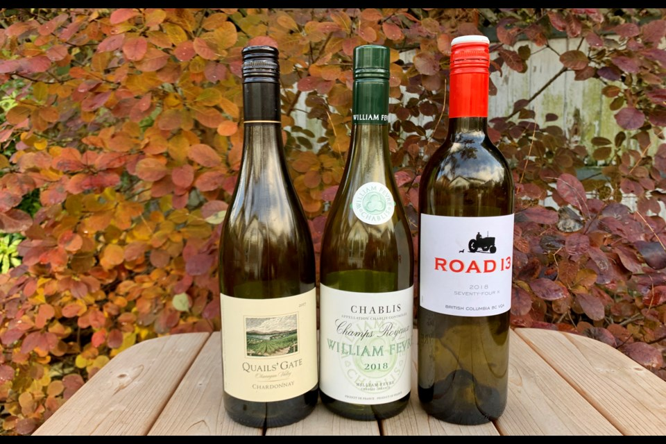 Quails Gate Chardonnay, William Fevre Chablis, and Road 13 Seventy-Four K are three recommendations to enjoy in the lead up to Christmas.