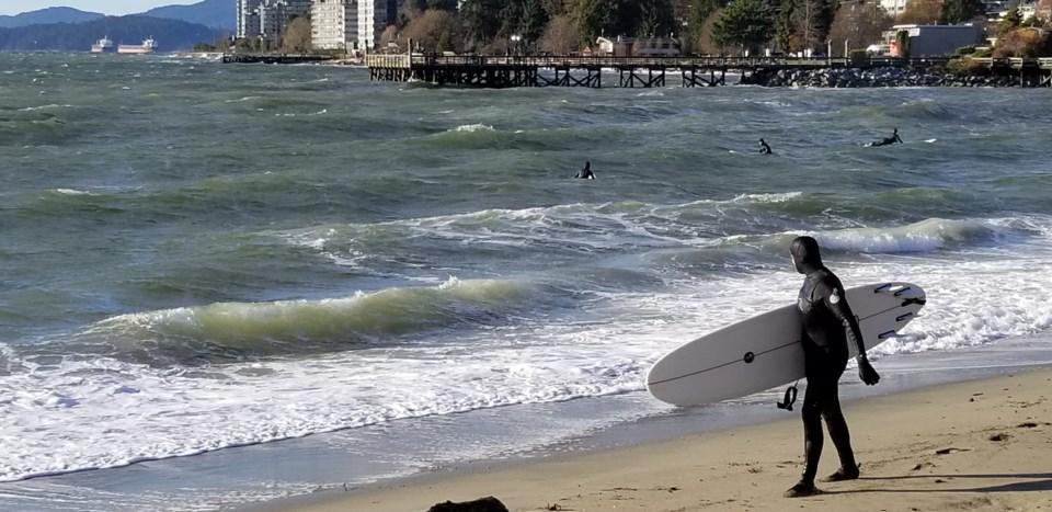 Ambleside Beach surfers