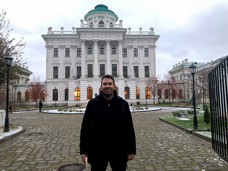 MAKING HISTORY: Arthur Arnold stands in front of the Lenin Library in the Pashkov House, located in Moscow, Russia. His latest CD with the Moscow Symphony Orchestra has made history as the first-ever recording of two compositions by Russian composer Alexander Mosolov. Contributed photo