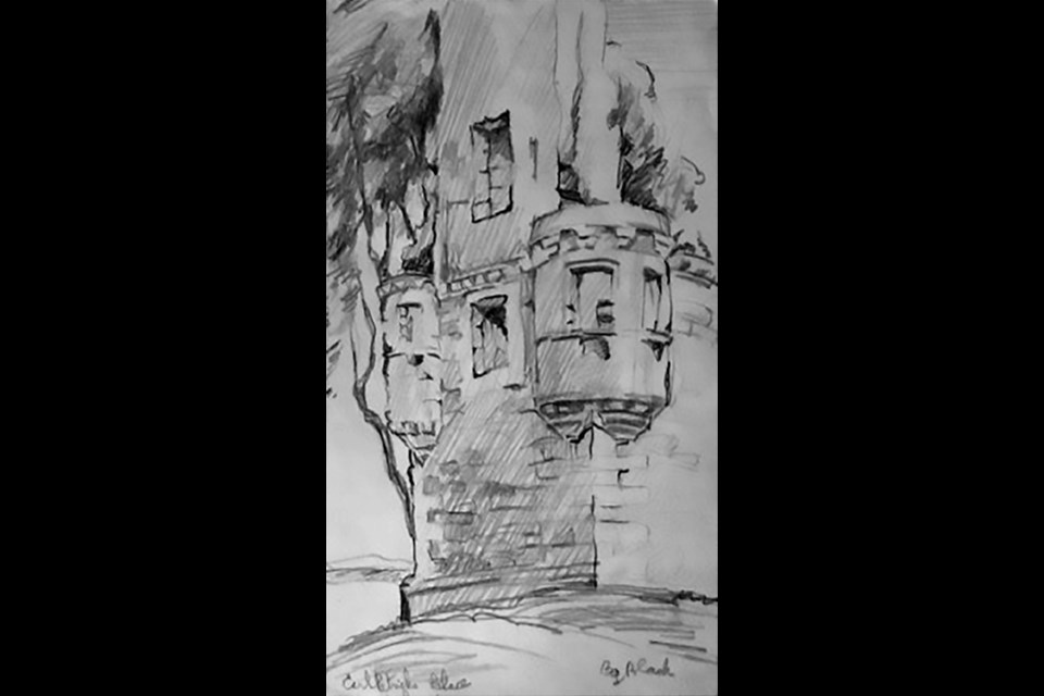 This sketch by Bruce Black is of Earl Patrick's Palace in Kirkwall, Scotland.