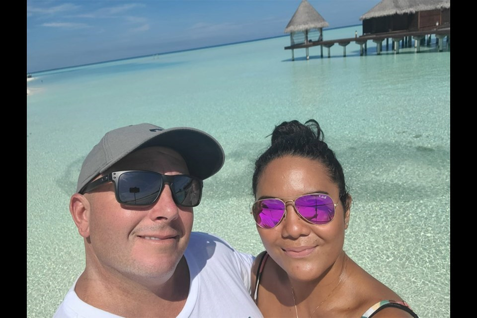 Neal Van Beers and Charmaine Sanchez in the Maldives.