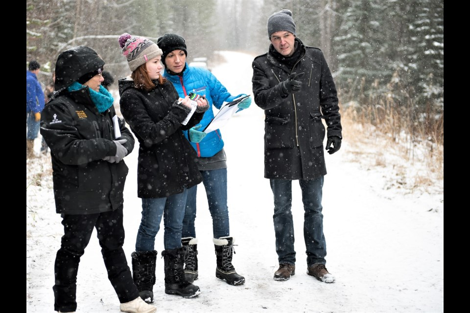 Norm Coyne of Barker Street Productions, right, seen here on another movie set pre-covid, is hoping for snow when filming begins in March for A Great North Christmas, which will be filmed in and around Prince George.