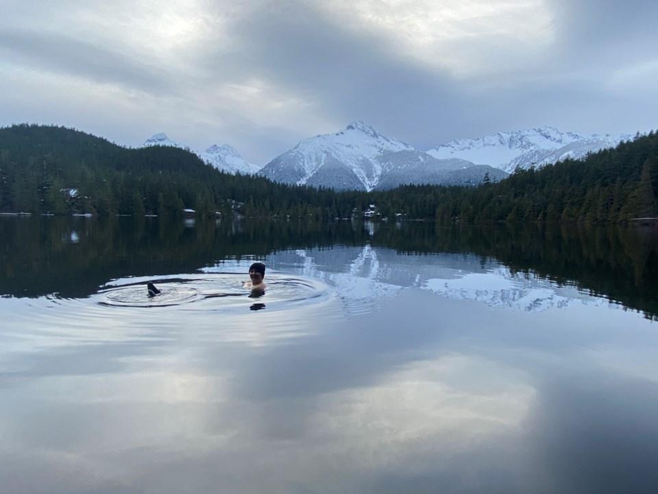 Kimmy Ginou takes a cold water swim.